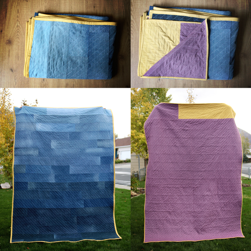 Denim quilt with purple flannel backing