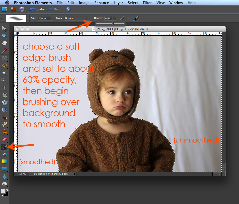 Photo of baby girl in photoshop elements: choose a soft edge brush and set to about 60% capacity, then begin brushing over background to smooth - left side of photo background is smoothed, right side isn\'t