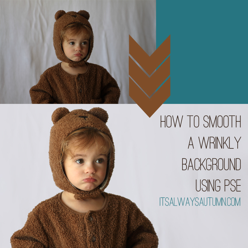 How to smooth a wrinkly background using Photoshop Elements; photo of a girl with wrinkled background; same photo with smooth background