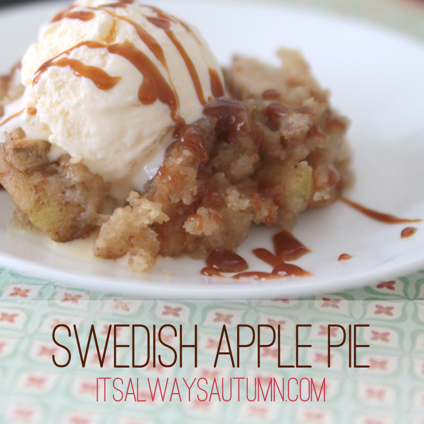 Swedish apple pie on a plate with vanilla ice cream and caramel