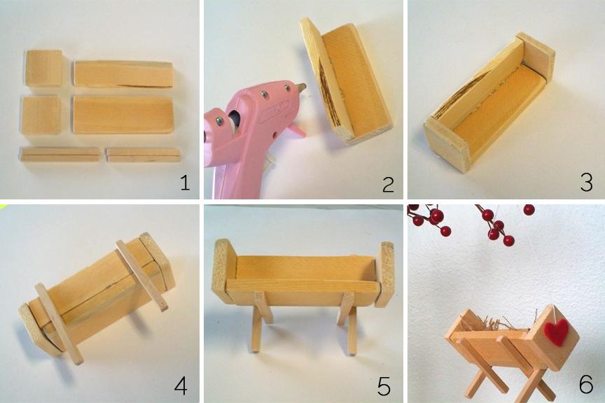 Assembling a wood manger ornament