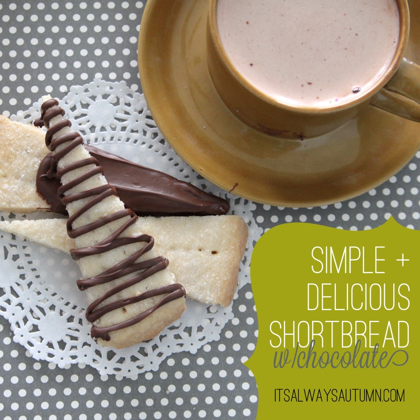 Pieces of shortbread with chocolate on them and cup of cocoa