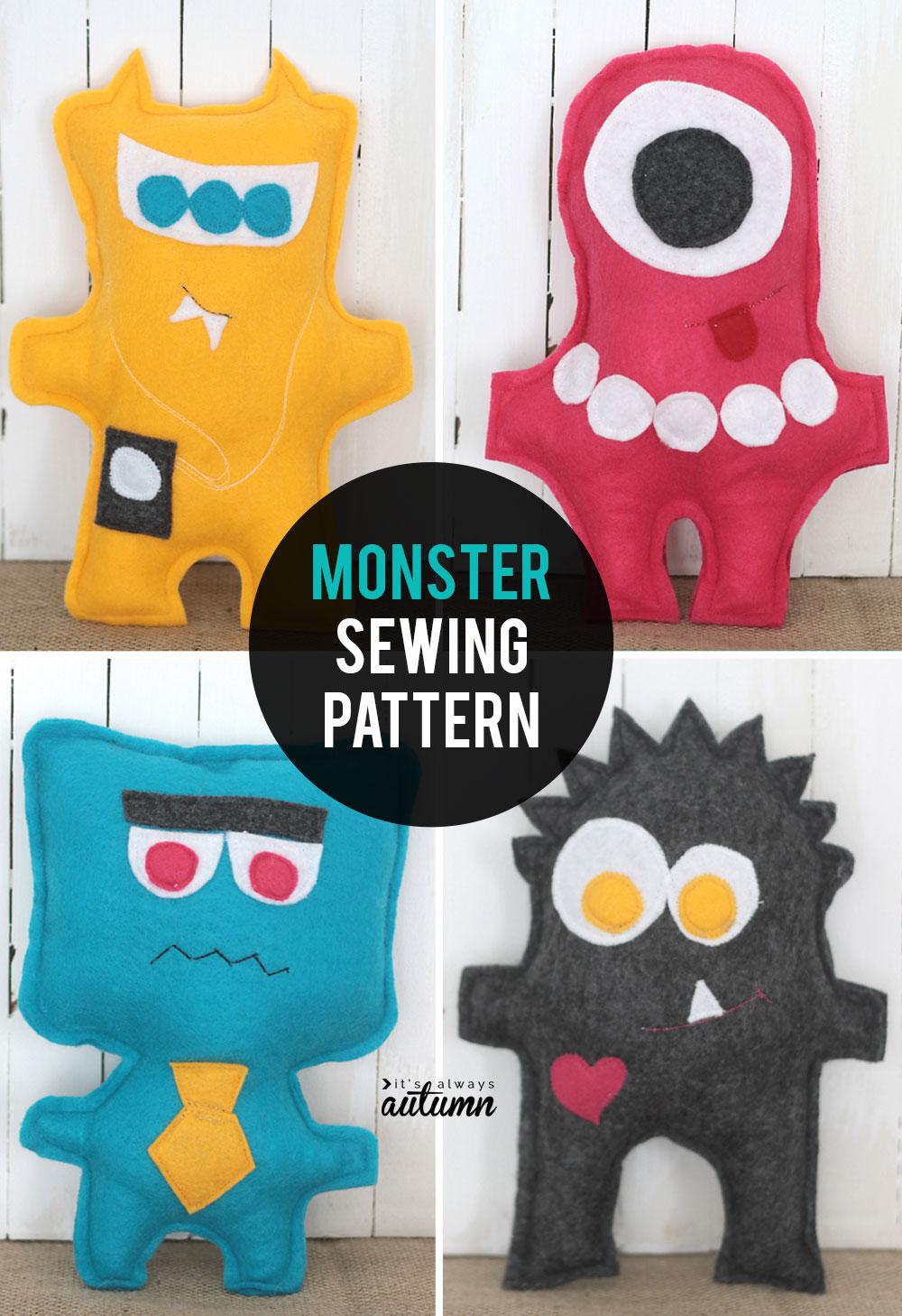Free Felt Pattern : pattern, Sewing, Pattern, Monster, Dolls
