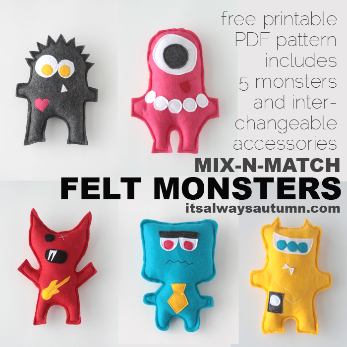 Easy felt monsters: perfect beginner sewing project!