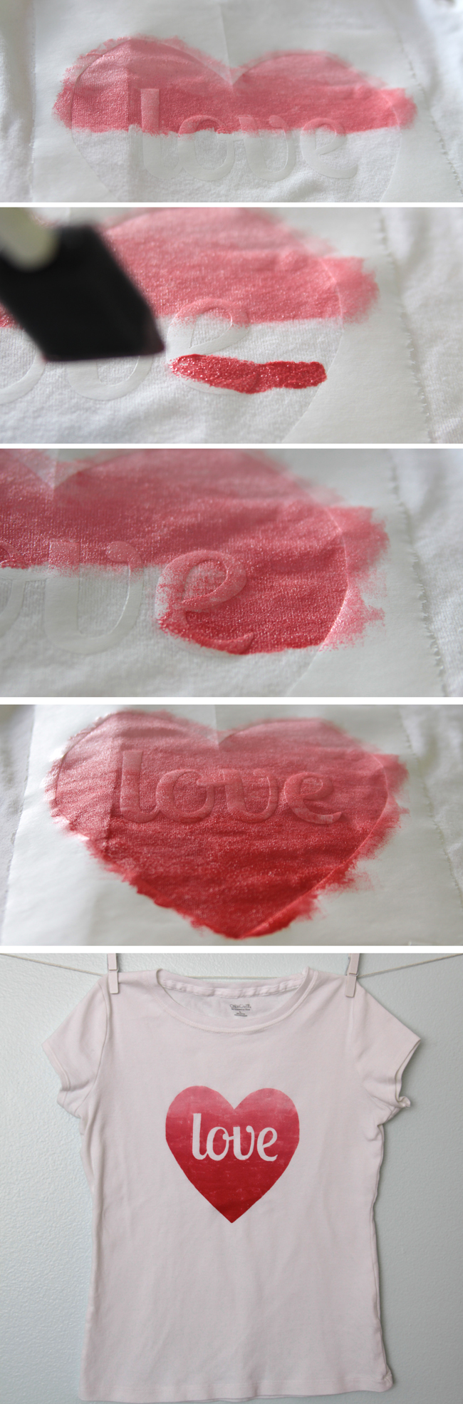 painting red and pink ombre on heart stencil