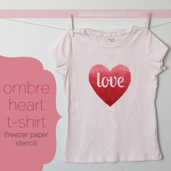 ombre heart t-shirt made with freezer paper stencil
