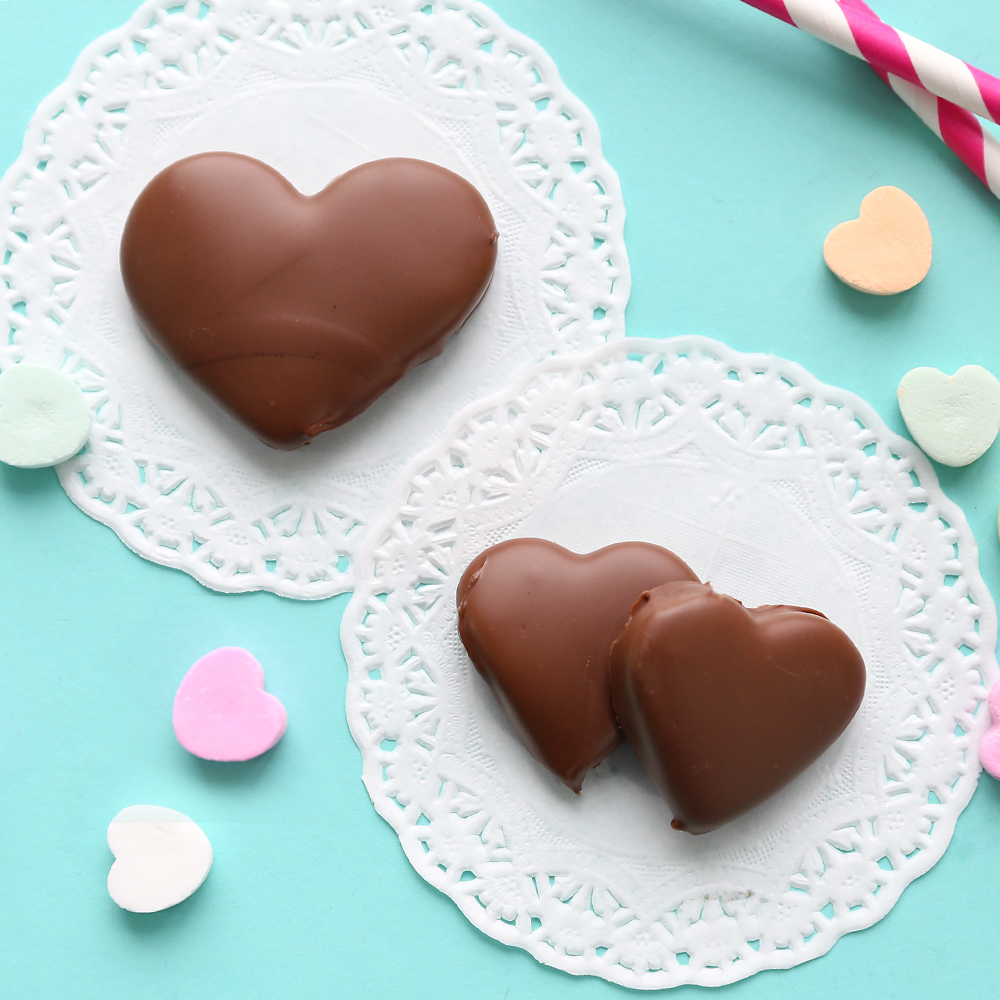 Peanut butter and chocolate hearts for Valentine\'s Day