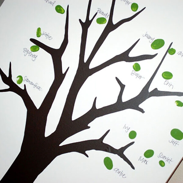 Painted tree with green fingerprints labeled with family names