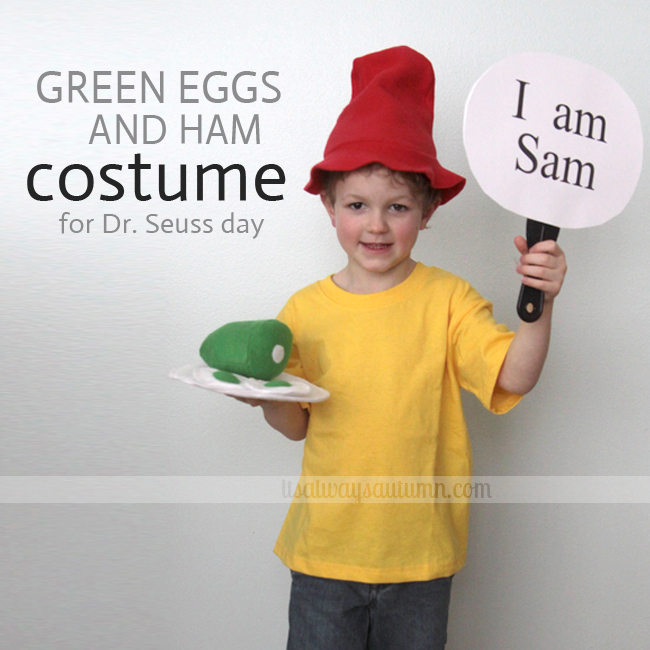 A little boy wearing a Green Eggs and Ham costume for Dr. Suess day