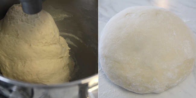 Bread dough in a mixing bowl, kneaded bread formed into a ball on a counter