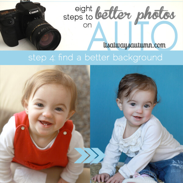 eight steps to better photos on auto; find a better background; photo of little girl with distracting elements in background; photo of same little girl on plain blue background