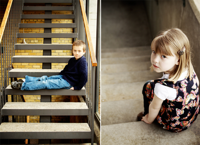 children sitting on stairs