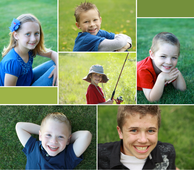 collage of photos all with green blurred grass in the background