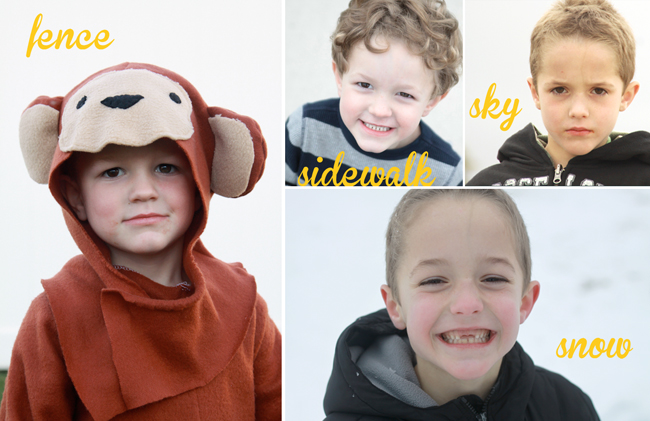 photos of little boys with plain light grey backgrounds made from a fence, sidewalk, sky, and snow