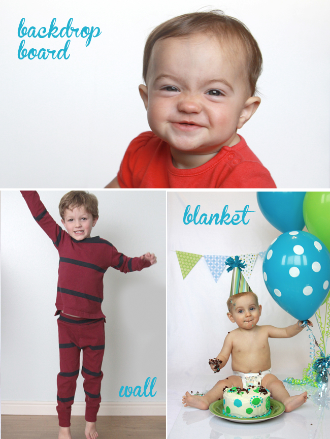 collage of photos with plain white backgrounds, made from backdrop board, wall, blanket