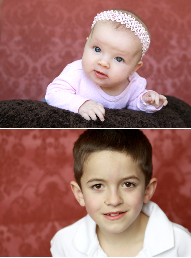 photo of a baby girl with pink fabric background; photo of boy with same pink fabric background