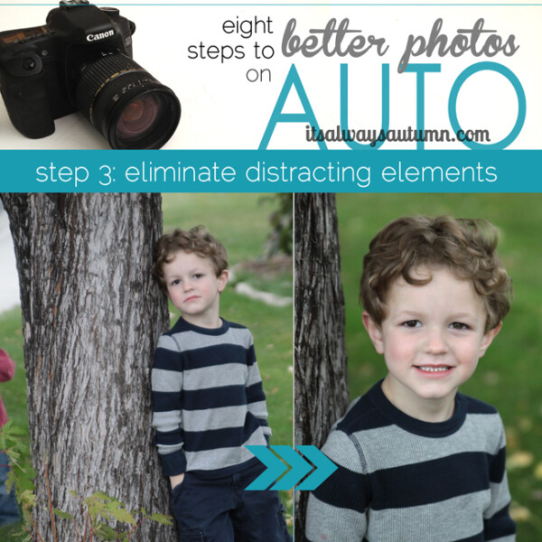 eight steps to better photos on auto, eliminate distracting elements; photo of a boy near a tree with many different things in the background; photo of same boy with just grass in the background