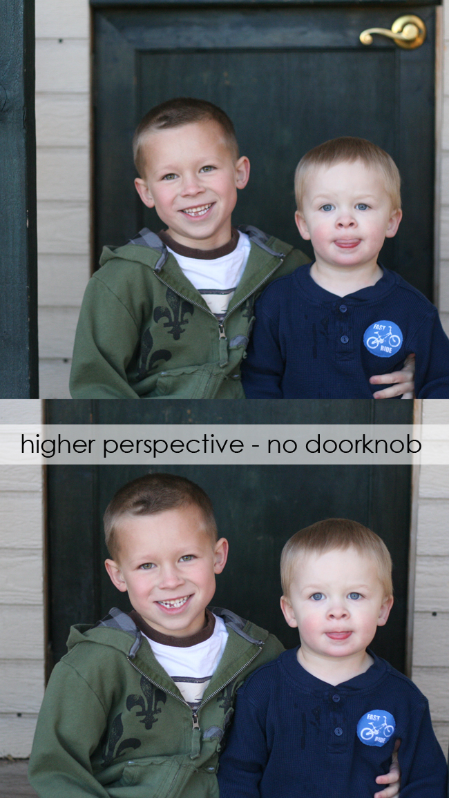 photo of boys in front of a door with a gold doorknob in the background; same photo taken from higher perspective so doorknob isn\'t there