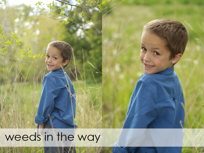 photo of boy with weeds in front of his face; photo of boy without weeds in the way