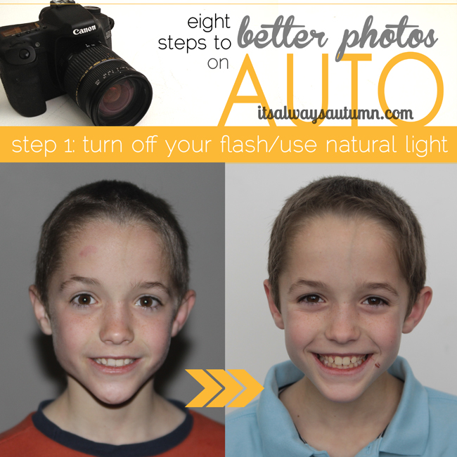 eight steps to better photos on auto, turn off your flash; photo of boy taken with flash with harsh shadow behind his head; photo of boy with better lighting so no shadow