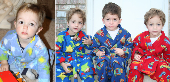 photo of boy in pajamas taken inside with a flash; photo of boys in pajamas on front porch