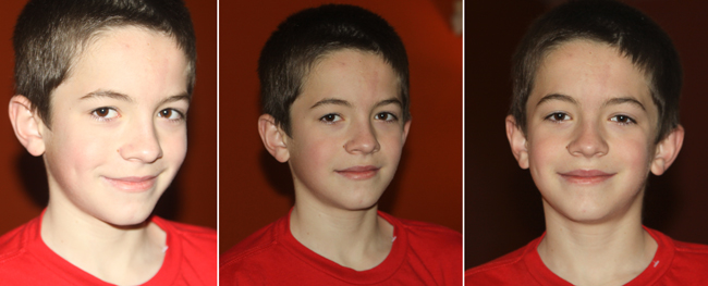 comparison photos of boy in different lighting and flash conditions