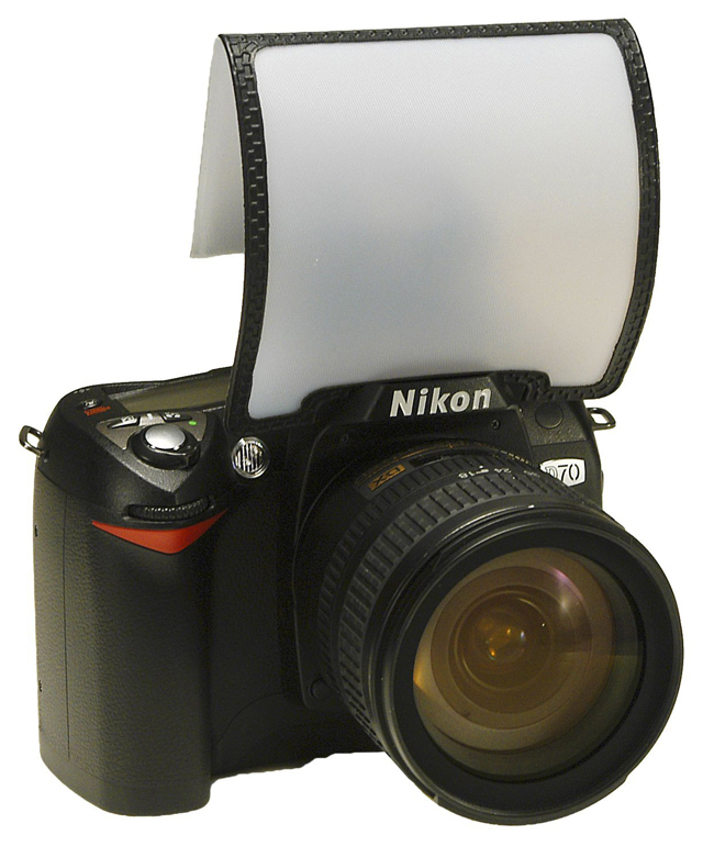A close up of a camera with a flash diffuser