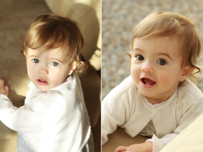 A photo of a baby with harsh lights and shadows on her face; a photo of a baby with soft lighting