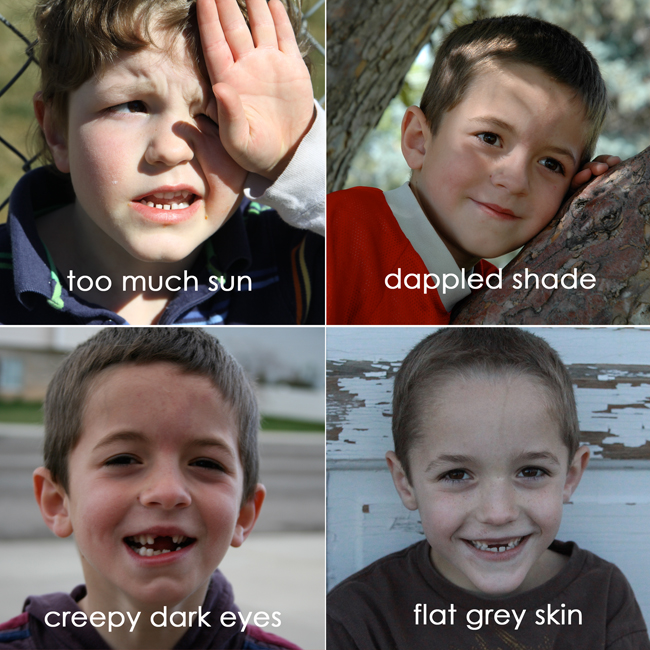 photo of boy squinting in too much sun; photo of boy with dappled shade on his face; photo of boy with dark eyes; photo of boy with flat grey skin