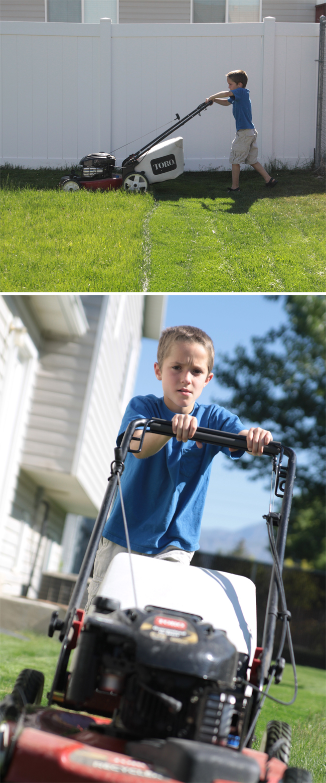 photo of a boy mowing the lawn taken from the side and far away; closer up photo taken from directly ahead of the mower