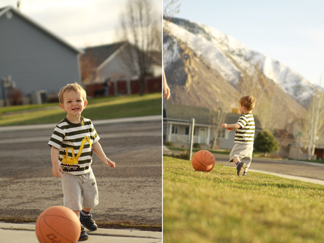 photo of little boy playing with ball; photo of same boy so mountain is in the background