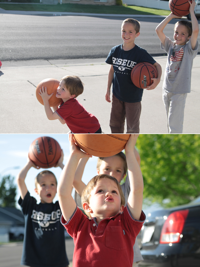 boys in a line shooting basketballs taken from the side; photo of same boys taken from directly ahead of them