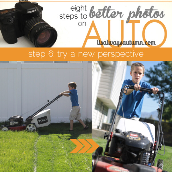 eight steps to better photos on auto, try a new perspective; photo of boy mowing lawn from the side; photo of boy mowing front directly ahead of him