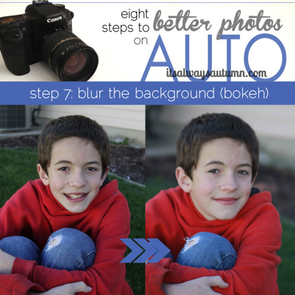get better photos on auto by blurring the background (bokeh); photo of boy with grass and dirt in the background; photo of boy with blurred background