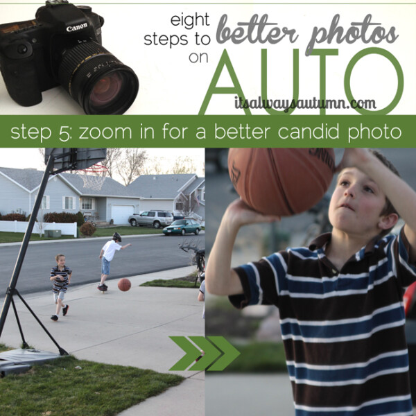 eight steps to better photos on auto, zoom in for a better candid photo; photo of boys playing basketball from far away; close up of boy about to shoot basketball