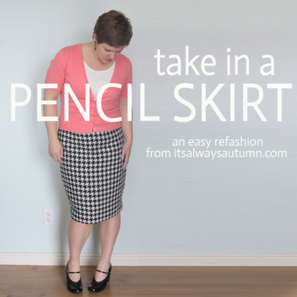 A woman wearing a black and white pencil skirt; take in a pencil skirt