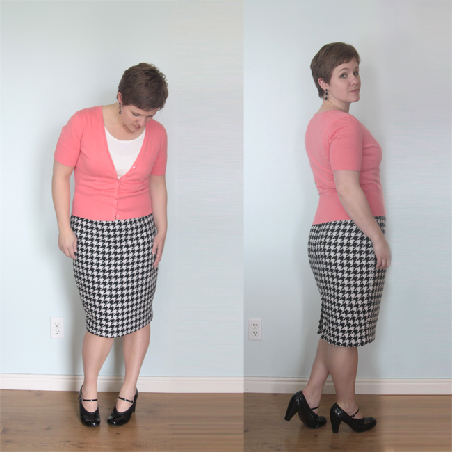 A woman wearing a pencil skirt that\'s been tailed to fit well