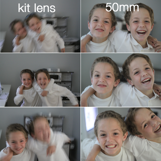blurry pictures of boys playing and laughing taken with kit lens; then in focus pictures of same boys taken with 50mm lens