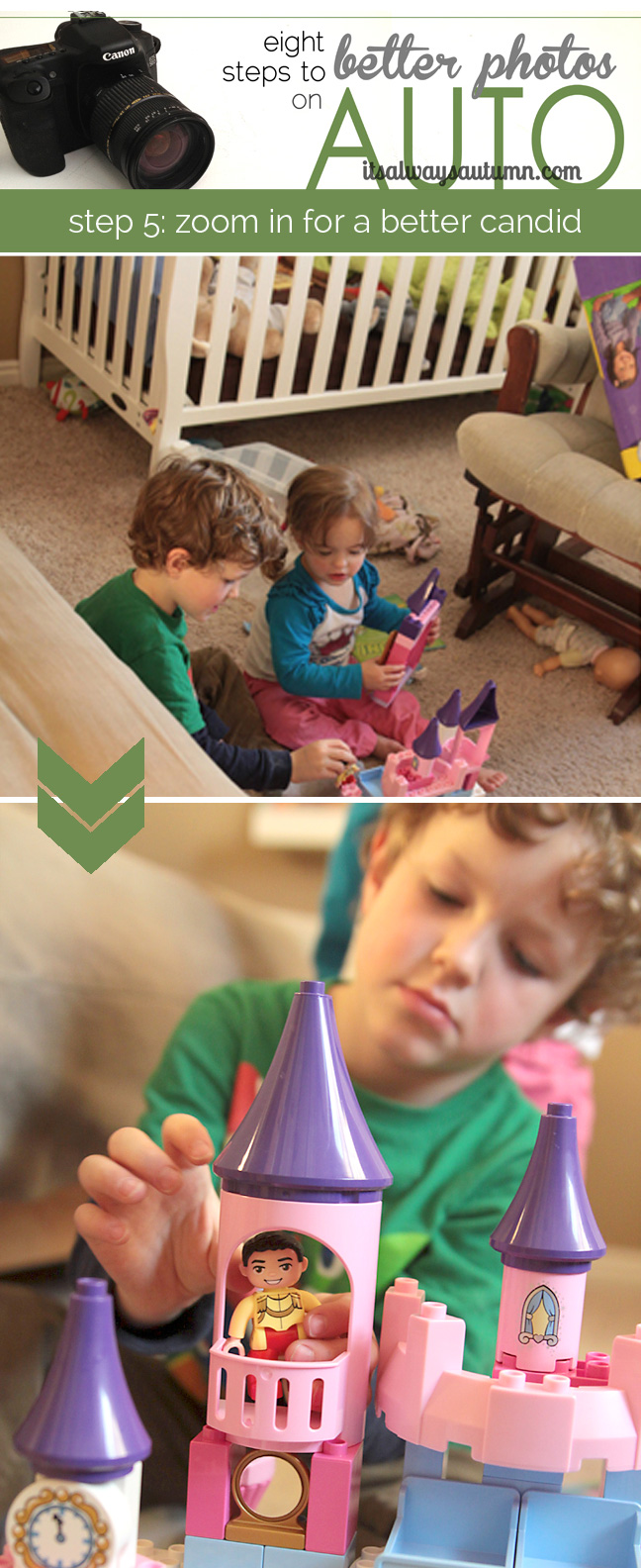 Photo of girl and boy playing with toy with furniture in the background; then closeup photo of little boy playing with toys