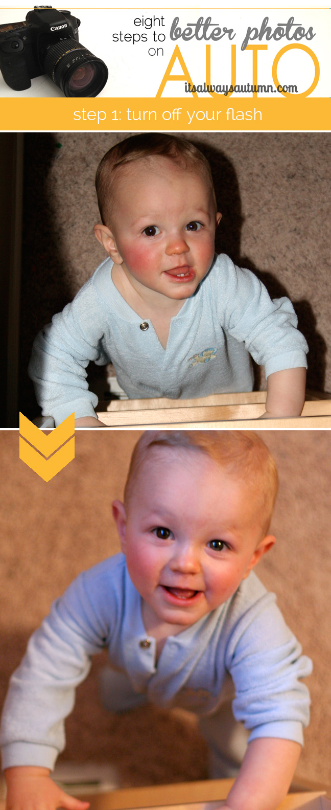 A photo of a baby boy with harsh shadows, then a well lit photo of same baby boy