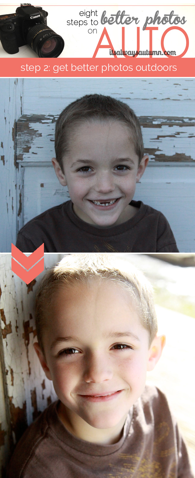 A photo of a young boy taken outside with flat blue light, then a photo of same boy with pleasant golden side lighting