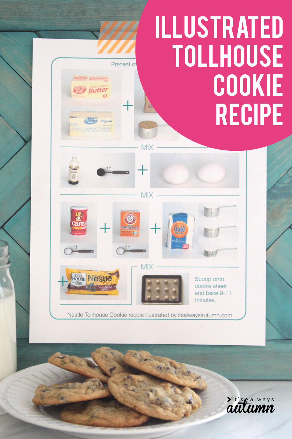 This illustrated cookie recipe makes it easy for kids to help make cookies!