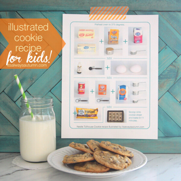 illustrated cookie recipe with plate of cookies and jar of milk