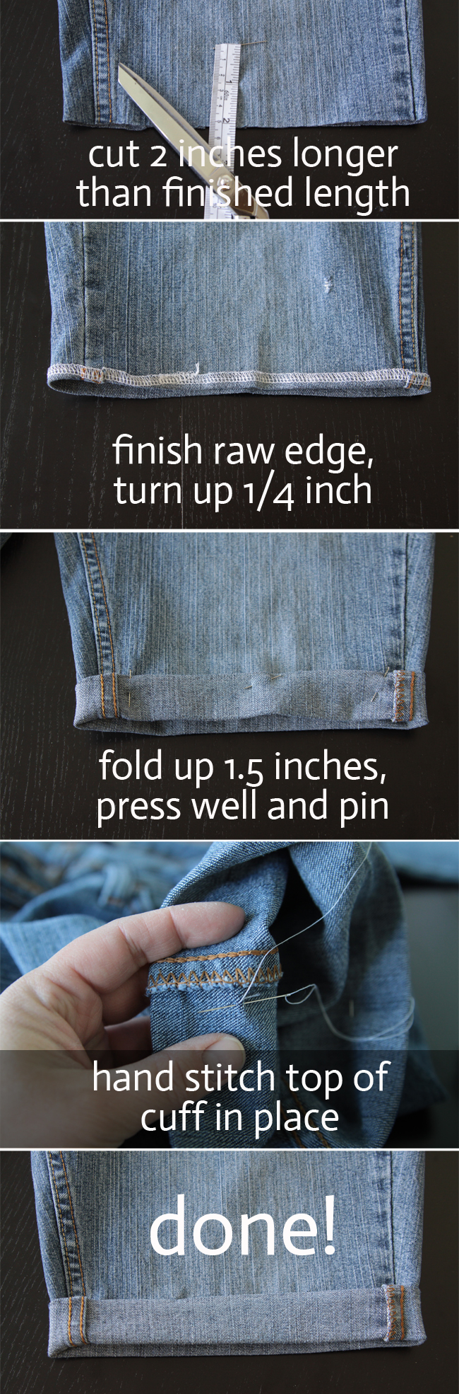 Instructions to hem jeans shorts cutoffs