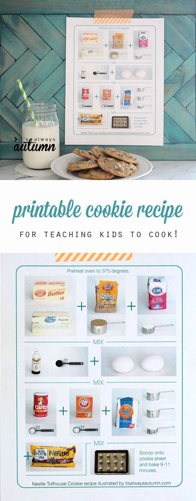 What a fun idea! This printable cookie recipe sheet is perfect for teaching kids how to cook, even if they can't read yet.