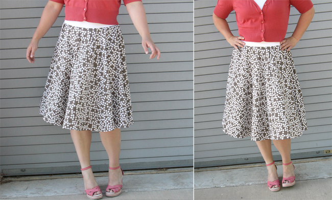 A woman wearing a circle skirt with elastic waistband