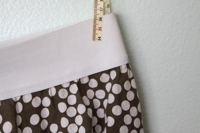 A close up of the skirt elastic waist