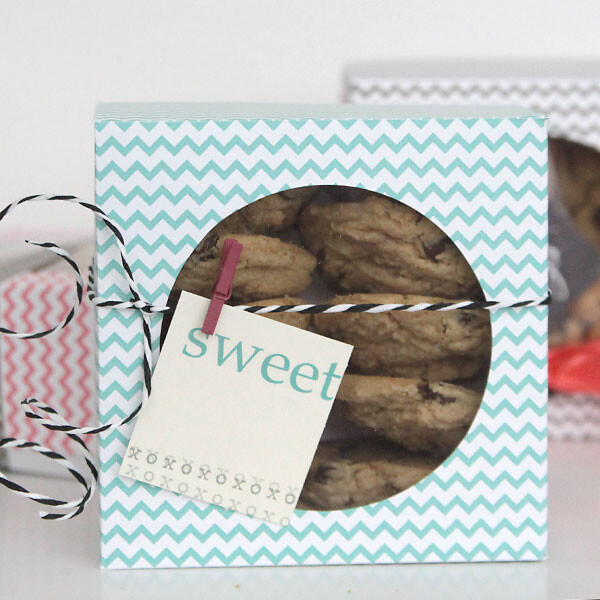Cookies in a box made from patterned paper