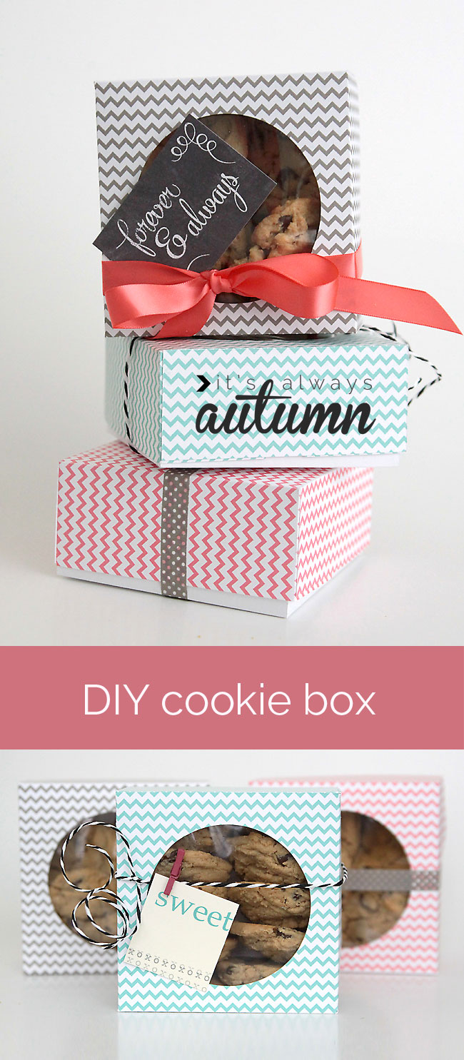 make an adorable box for gifting cookies from folded card stock
