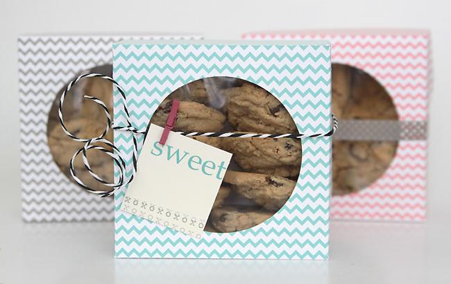 Cookies in a DIY paper treat box